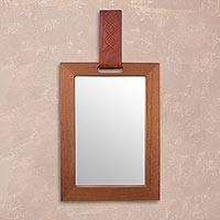 Wood and leather wall mirror, 'Classic Fusion' - Mohena Wood and Leather Wall Mirror from Peru