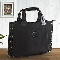 Leather accented cotton handbag, 'Black Sophisticated Companion' - Leather Accent Cotton Handbag in Black from Peru