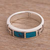 Chrysocolla band ring, 'Modern Mediterranean' - Inlay Chrysocolla and Sterling Silver Modern Band Ring