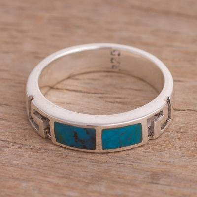 Fine Jewelry Gemstone Tireless Modern Turquoise Sterling Silver 925 Light Blue Stone New Nwt Size 7 Band Ring