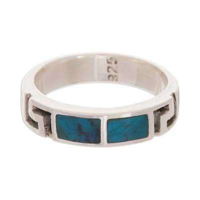 Inlay Chrysocolla and Sterling Silver Modern Band Ring