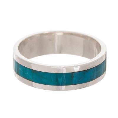 Chrysocolla Inlay Stripe and Sterling Silver Band Ring
