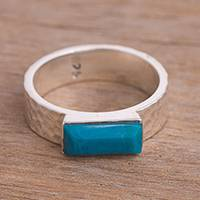 Chrysocolla single stone ring, 'Ocean Plateau' - Faceted Chrysocolla and Sterling Silver Single Stone Ring