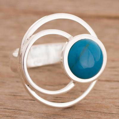 Chrysocolla cocktail ring, 'In Orbit' - Chrysocolla in Sterling Silver Orbiting Planet Cocktail Ring