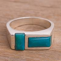 Chrysocolla cocktail ring, 'Modern Mosaic' - Double Rectangle Chrysocolla Sterling Silver Cocktail Ring