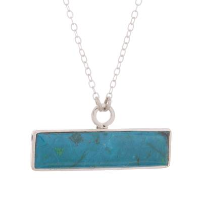 Modern Chrysocolla and Sterling Silver Bar Pendant Necklace