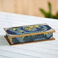 Reverse painted glass decorative box, 'World View' - Map of the World Reverse Painted Glass Wood Decorative Box