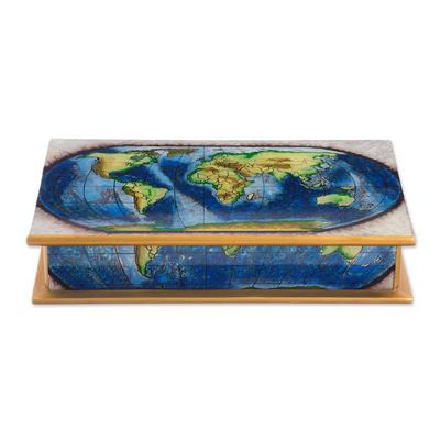 Reverse-painted glass decorative box, 'World View' - Map of the World Reverse-Painted Glass Wood Decorative Box