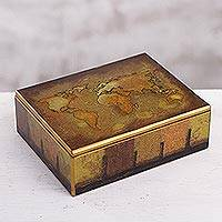 Reverse painted glass decorative box, 'Cartographer's Treasure'