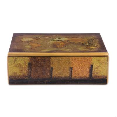 Golden world map reverse painted glass wood decorative box reverse painted glass decorative box cartographers treasure golden world map reverse painted gumiabroncs Gallery