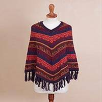 Alpaca blend poncho, 'Incan Kaleidoscope' - Colorful Striped Andean Motif Alpaca Blend Knit Poncho