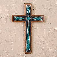 Chrysocolla and wood wall cross, 'Dynamic Cross' - Handcrafted Wood and Chrysocolla Wall Cross from Peru