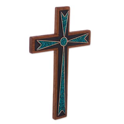 Chrysocolla and wood wall cross, 'Dynamic Cross' - Handcrafted Wood and Chrysocolla Wall Cross from Peru