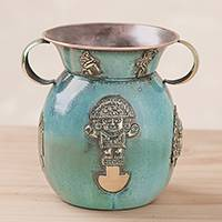 Copper decorative vase, 'Deities of Peru' - Copper Decorative Vase with Bronze Peruvian Deities