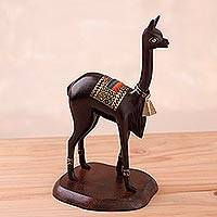 Cedar wood statuette, 'Vicuña' - Handcrafted Cedar Wood Vicuña Statuette with Bronze Accents