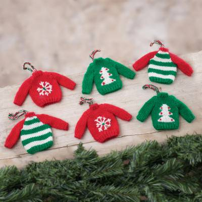 Knit ornaments, Winter Sweaters (set of 6)