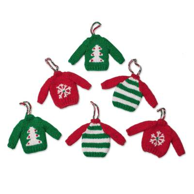 Knit ornaments, 'Winter Sweaters' (set of 6) - Knit Mini Sweater Ornaments from Peru (Set of 6)