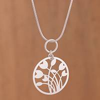 Sterling silver pendant necklace, 'Tulips in Love' - Sterling Silver Tulip Pendant Necklace from Peru