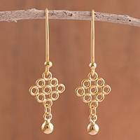 Featured review for Gold plated sterling silver dangle earrings, Diamond Circles