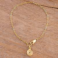 Gold plated sterling silver chain bracelet, 'Spiral Universe' - 18k Gold Plated Sterling Silver Spiral Chain Bracelet