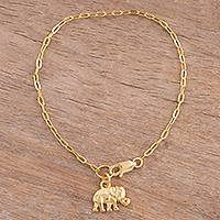 Gold plated sterling silver chain bracelet, 'Golden Elephant' - 18k Gold Plated Sterling Silver Elephant Chain Bracelet