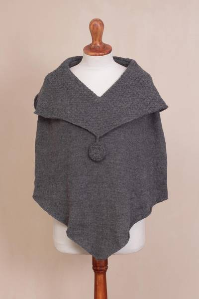 100% alpaca poncho, 'Soft Clouds' - Dark Grey Knit 100% Alpaca Poncho with Hand Crocheted Trim