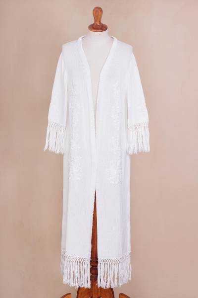 Pima cotton duster, 'Garden Elegance' - White Pima Cotton Fringed Knit Duster with Crocheted Flowers