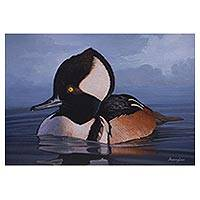 'Dusk in the Lake' - Signed Painting of a Hooded Merganser Duck from Peru