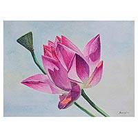 'Lotus Flower' - Signed Watercolor Painting of a Lotus Flower from Peru