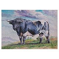 'Imminent Force' - Signed Watercolor Painting of a Bull from Peru