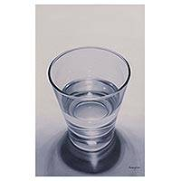 'Life' - Signed Painting of a Glass of Water from Peru