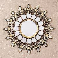 Bronze wall mirror, 'Radiant Light' - Handmade Bronze Wall Mirror from Peru