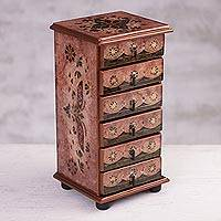 Reverse-painted glass jewelry chest, 'Rosy Colony' - Floral Reverse-Painted Glass Jewelry Chest in Pink from Peru