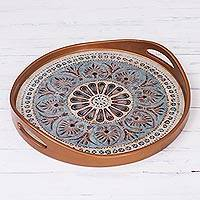 Reverse-painted glass tray, 'Heart Mandala' (15 inch) - Mandala Motif Reverse-Painted Glass Tray (15 Inch)