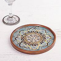 Reverse -painted glass wine bottle coaster, 'Celestial Hearts' - Mandala Motif Reverse-Painted Glass Wine Bottle Coaster