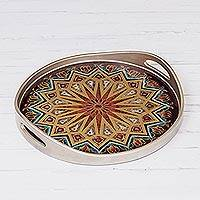 Reverse-painted glass tray, 'Starry Dimension' - Geometric Reverse-Painted Glass Tray from Peru