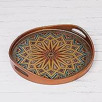 Reverse-painted glass tray, 'Geometric Dimension' - Geometric Motif Reverse-Painted Glass Tray from Peru