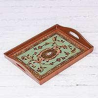 Reverse-painted glass tray, 'Lovely Medallion' - Floral Reverse-Painted Glass Tray in Gold from Peru