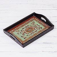 Reverse-painted glass tray, 'Lovely Medallion in Black' (7 in.) - Reverse-Painted Glass Tray in Black from Peru (7 in.)