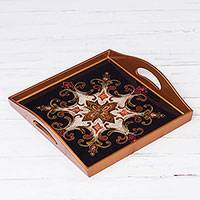 Reverse-painted glass tray, 'Floral Shield' (11.75 in.) - Square Reverse-Painted Glass Tray from Peru (11.75 in.)