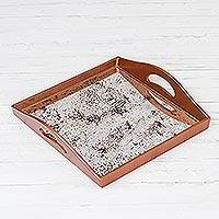 Reverse-painted glass tray, 'Vintage Gleam' - Reflective Reverse-Painted Glass Tray from Peru