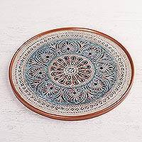 Reverse-painted glass centerpiece, 'Heart Mandala' - Mandala Motif Reverse-Painted Glass Centerpiece from Peru