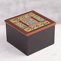 Reverse painted glass decorative box, 'Garden Colony' - Floral Motif Reverse Painted Glass Decorative Box from Peru