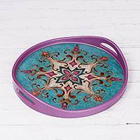 Reverse-painted glass tray, 'Purple Bohemia' - Reverse-Painted Glass Tray in Purple and Blue from Peru
