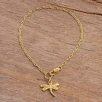 Gold plated sterling silver chain bracelet, 'Golden Dragonfly' - 18k Gold Plated Sterling Silver Dragonfly Chain Bracelet