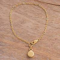 Gold plated sterling silver chain bracelet, 'Golden Pendulum' - 18k Gold Plated Sterling Silver Medallion Chain Bracelet