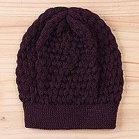100% baby alpaca hat, 'Exciting Bubbles in Mulberry' - 100% Baby Alpaca Knit Hat in Mulberry from Peru