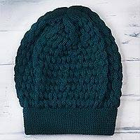 100% baby alpaca hat, 'Exciting Bubbles in Teal' - 100% Baby Alpaca Knit Hat in Teal from Peru