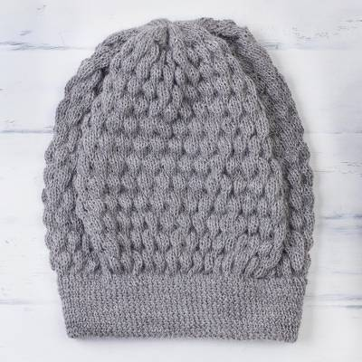 100% baby alpaca hat, 'Exciting Bubbles in Smoke' - 100% Baby Alpaca Knit Hat in Smoke from Peru