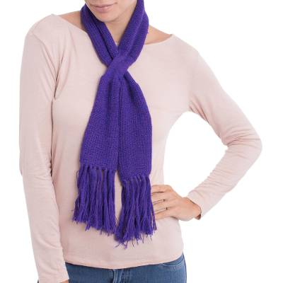 100% baby alpaca scarf, 'Glorious Knit in Blue-Violet' - 100% Baby Alpaca Wrap Scarf in Blue-Violet from Peru